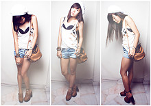 Amanda Liu - Forever 21 Rip Top, Teefoo Leather Colour Sling Bag, Cotton On Clog Heels, Mum'scloset Denim Shorts, Forever 21 Rings, Hat Attack Beannie - I Want You To Look At Me And Smile