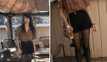 Krysta M - Second Hand Button Up, Levi's® Shorts, Target Tights - Out of focus