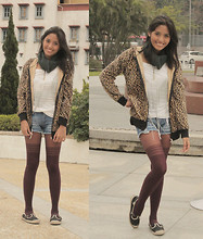 Phoebe Rutaquio - Rustan's Rubber Mary Janes, Fancieta Green Wrap Scarf, Leopard Hoodie Jacket, Thrift Store Frilly Off Shoulder Top, Fancieta Denim Daisy Dukes, Gift Love Necklace, Thrift Store Mauve Stockings - F Wharf