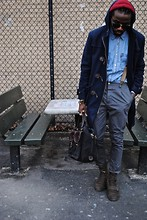 Kadeem Johnson - Pierre Cardin Duffle Coat, Ray Ban Shades, Topman Pants, Levi's® Shirt, Thrifted Bag - SUSPENDED