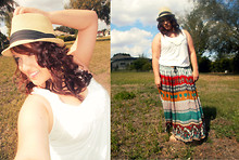 Elizabeth Hernandez - Walmart Fedora Hat, Forever 21 Floral Shirt, Urban Outfitters Maxi Skirt - Enchanted.