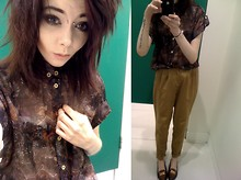 Jayde Revill - Topshop Chiffon Shirt, Urban Outfitters Golden Peg Leg Chinos, Charity Shop Loafers - Chino Chiffon