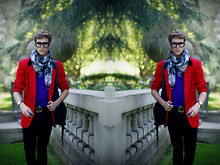 Adam Gallagher - Thick Framed Glasses, H&M Smoke Scarf, Thrifted! Red Blazer, Polo Purple, Gucci Belt - SPRING SPLASH