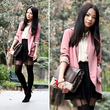 Yuki Lo - Kimchi Blue Pink Blazer, Monki Shirt, Asos Skirt, Topshop Tights - Love is the end