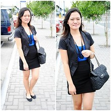 Chantal Jane - Black Blazer, Sm Dress, Chain Necklace, Quilted Chain Bag, Undefined Ribbon Flays - Black, Blue and Chain