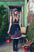 Paige Elise - Vintage European Folk Dress, White Petticoat, American Apparel Velvet Stirrup Tights, We Who See Black Pilgrim Boots - Holy holy holy