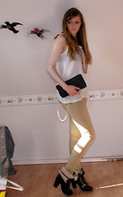 Helen Cooper - H&M Gold Necklace, Clutch, Heel Boots - Gold digger