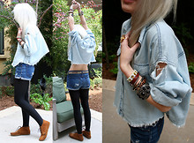 Margaret Shaw - One Teaspoon Denim Top, J Brand Denim Shorts, Aritzia Beaded Belt, Minnetonka Moccasins - Denim on Denim