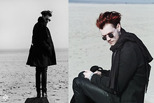 CLEMENT LOUIS . - Cos Black Scarf, Zara Black Green Coat, The Kooples Leather Slim, Asos Black Boots, Asos Black Bag, Ebay Black Circle Sunglasses - NORMANDY FREAKS! CLEMENT LOUIS