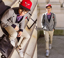 "Denny Balmaceda - Jordan 5s, H&M Wayfarers, J.Crew Blazer, H&M Button Up, New Era Bulls Fitted - "" Baby, you autumn time cool..."""