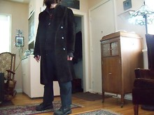 "Ellis Dee - My Grandparents Alpaca Heirloom Coat, Value Village D.A.R.E Shirt, Some Random Nipponese Brand Mohair Trousers, You'd Like To Fucking Know C.S.A Certified Shitkickers, My Friend & Discordian Bretheren Le' Bunny Cunts Hoodie, Fender The ""Evil"" Twin - Head to fuckin' Toes"