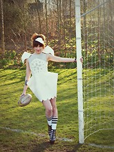 Ellen Brockbank - Made By Me Dress, Jeffrey Campbell Wedges - American Football.