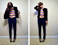 Kelly Lauren - Vintage Black Velvet Blazer, Vintage Striped Crop Top, Bdg High Waist Cigarette Jeans, Jeffrey Campbell Black Suede Strappys - New beat