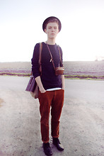 Pieterjan B - Vintage Red Pants, Second Hand Bag, Second Hand Binoculars Bag - BE LIGHT