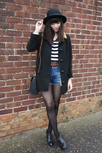 Sarah B - Black Coat, Striped Tee, Denim Shorts - Solitude is bliss