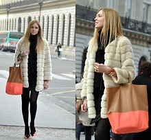 Chiara Ferragni - Faux Fur Coat, Céline Celine Bag - In Paris, weeks ago, with the new Celine bag