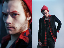 CLEMENT LOUIS . - American Apparel Red Hat, Fleepmarket Red Shirt, Fleepmarket Leather Tshirt, Blue Blazer, Rick Owens Big Bag, The Kooples Leather Pant - PRAY FOR JAPAN /CLEMENT LOUIS