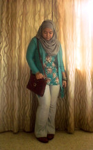 Iyza Ariff - Sachs Vintage Bag, Fos Blue Cardy, Vintage Blouse, Uniqlo Faded Jeans, Forever 21 Bangles, Pierre Cardin Oxford Shoes - Feeling oxford