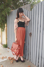 SHERYL MILK - Orange Tote, Vintage Burnt Oraneg Mermaid Skirt, Vintage Soft Floral Slip/Dress - Soft Petals