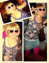 Jess R - Undefined Floral Sunglasses, Abercrombie And Fitch Denim Frayed Mini - R-R-Roller Disco on the Dance Floor!