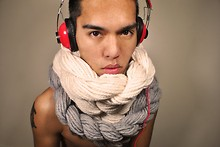 Jay DeaSantos - Self Made Infinity Scarf, Self Made Yarn Necklace - One Cold DJ