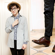 Pascal Grob - Vintage Straw Hat, Moscot Lemtosh Glasses, Cos Shirt, American Apparel Flannel Shirt, Topman Trousers, Vintage Oxford Shoes - 5568509067