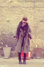 Nicklas Due - Ivan Grundahl Grey Coat, Big Black Scarf, Cheap Monday Black Jeans, Dr. Martens Black Leather Boots, Asos Black Sunglasses - 15.6.6.9.3.9.14.1.18.21.13.56155 -
