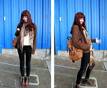 Kelly Lauren - Urban Outfitters Two Tone Backpack, Vintage Brown Mohair Cardigan, Thriftedj Peachy Long Sleeve Top, Silence & Noise Jeggings, Two Tone Lace Up Boots - It's all over now, baby blue