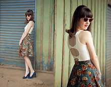 Lilian Larrañaga - Pool Shirt, White Joola Vintage Skirt (From Japan), Vintage Glasses (From Argentina) - Love Me Tender