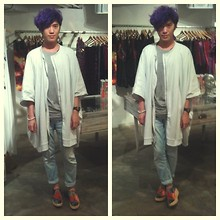 Vincent Hsu - Odeur Jacket, Acne Studios Tee, Zara Jeans, Opening Ceremony Shoes - White Purple Grey