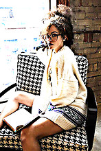Chacha M - Value Village Thrift Store Vintage Sweater, Ardenes Pearl Necklace, D  Tox Nerd Glasses - March 30th . 2011