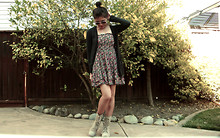 Cyress Cervantes - Forever 21 Floral Dress, Anchor Blue Black Cardigan, Forever 21 Combat Boots, Forever 21 Lovely Necklace - Hello Spring 2011 :)