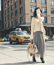 Sun J. - Marc By Jacobs Oversized Cream Sweater, Pleated Chiffon Dress, Miu Dear Skin Bag, Via Spiga Lace Ankle Boots - Pleated