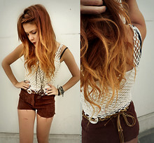 Lua P - Vintage Suede Shorts, Undefined Crochet Top, Forever 21 Necklace - Suede & Crochet