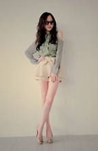Baby Qi - Palm Cut Out Shirt, Beige Lace Bow Tie Pantskirt, Forever 21 Nude Platform Heels - Neutral Pallete