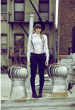 Paige Elise - Uniqlo White Button Up, Bdg Black Denim Skinnies, Thrift Black Leather Suspenders, Thrift Velvet Jester's Hat, Dolce Vita Leather Boots - Third time's a charmer