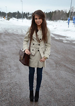 Marianna M - Zara Trench Coat, Hollister Jeans, Steve Madden Heels, Second Hand Satchel - Grey friday