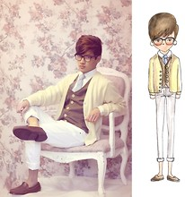 Jeremy Cunanan - Self Made Brown Vest, Urban Outfitters Light Blue Knit Tie, Brown Loafers, Forever 21 Nerd Glasses, Micheal Kors White Button Down Shirt, Yellow Cardigan, Hottpic White Skinny Jeans - Be Yourself, Everyone Else is Taken
