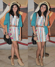 Phoebe Rutaquio - Cebu Wooden Bangle, Divisoria Assorted Gold Bangles, Fancieta Beige Oxford Booties, Thrift Black Sling Satchel, Fancieta Straw Boater Hat, White Ring, Owl Ring, Turquoise Cardigan, Chictees Tribal Print Dress, Brown Belt - And we shall commence