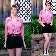 Anna Martin - Rummage Sale Headscarf, Thrifted Blouse, Thrifted Shorts, Oxfords - Rose