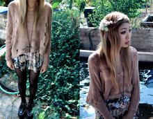 Essy Noir - Dolman Sleeve Nude Knit, Forever 21 Cross Necklace, Purrr Vintage High Waist Floral Shorts, Plain Black Tights, Tuk Creepers, Diy Flower Pin - I feel like a pixie