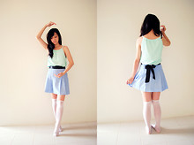 Reese Ungson - Adidas Mint Green Top, Custom Made Soft Blue Pleated Skirt - So Long To Devotion