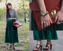 Diya L - American Apparel Pleated Maxi, Forever 21 Black And White Striped Blouse, Asos Leather Envelope Pouch - Emerald