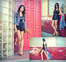 Megan Rose - Forever 21 Scallop Romper, United Colors Of Benetton Denim Jacket, Jeffrey Campbell Splendid - Ice bricks.