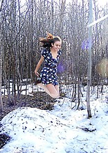 Chacha M - Costa Blanca Cute Floral Dress, American Apparel Camel Ribbed Modal Over The Knee Socks, Value Village Thrift Store Vintage Cute Shoes, Value Village Thrift Store Vintage Leather Belt - April 4th . 2011 , When will snow finally leave :(