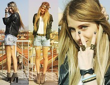 Isabella Rakonić - Abercrombie & Fitch Leather Jacket, Drop Dead Rings, Levi's® Shorts, Moschino Belt, Jeffrey Campbell Grey Lita - Drop Dead Biatch ;)