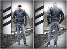 Ivan Johannes - Adidas Sneakers, Dr. Denim Slim Fit Jeans, Vintage Leather Jacket, Urban Tools Hip Holster, Ray Ban Wayfarer - Brand With I I I Stripes