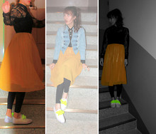 Sunhwa Hwang. Muse S - 82code Yellow Pleats Long Skirt, H&M Denim Millitary Jacket, H&M Flower See Through Blouse, Adidas Fluorescence Pointed Flat Sneakers - Mellow YELLOW