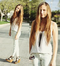 Bethany Struble - White Tank, Forever 21 Netted Chain Necklace, Bullhead Acid Wash Crop Pant, Steve Madden Zipper Wedges - Acid