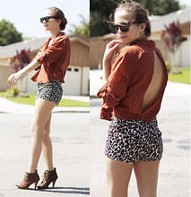 Bethany Struble - Lf Stores Burnt Orange Backless Blouse, Forever 21 Leopard Print Shorts, Steve Madden Lace Up Suede Booties - In The Suburbs